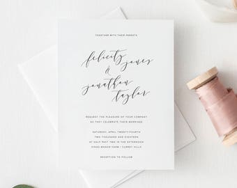 Printable Wedding Invitation - Minimal Wedding Invitations - Simple Invitation - Modern Calligraphy - DIY Wedding Invites - Handlettering