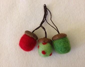 Set of three needle felted acorns- handmade