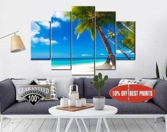 Palm poster, Beach Seascape, Palm Trees Canvas, Multipanel Canvas, Palm Tree, Landscape Framed, Canvas Print,  5 Panel Canvas Print