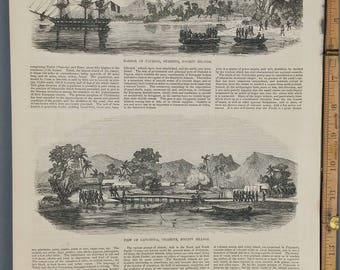 Harbor of Papenoo, Otaheite, Society Islands 1853. Captain Cook. Large Antique Engraving.