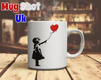 Banksy Style Girl with Heart Balloon Coffee Mug