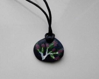 Winter berries ceramic pendant
