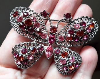 Vintage Austrian Crystal Rhinestone Filagree Butterfly Brooch Pin