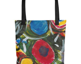 Colorful Circles - Amazingly beautiful full color tote bag with black handle featuring children's donated artwork.