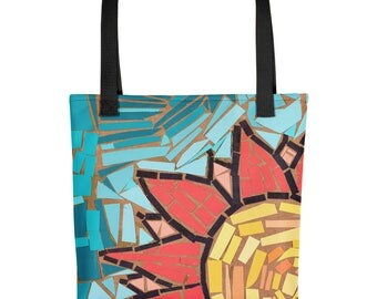 Yellow and Red Sunflower Mosaic - Amazingly beautiful full color tote bag with black handle featuring children's donated artwork.