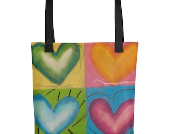 Four Hearts - Amazingly beautiful full color tote bag with black handle featuring children's donated artwork.