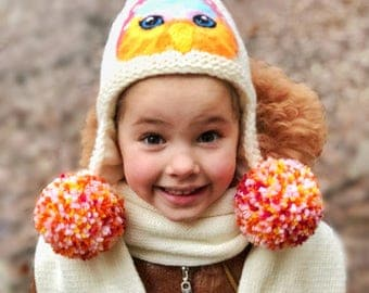 Knit set for girl Knit scarf for girl Earflaps hat girl Scarf and hat girl Animal hat for girl Owl hat White hat and scarf set Kids Hat