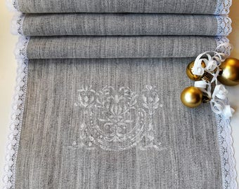 Linen Polyester Table Runner With Laces, Vintage Burlap Runner, Burlap  Fabric Table Runner,