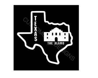Texas Car Decal, Car Decal, Laptop Decal, Texas State, The Alamo, Window Decal
