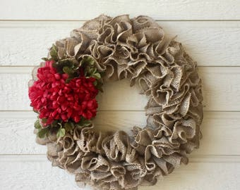 Burlap Wreath / Burlap Ruffle Wreath / Burlap Wreath with Red Flowers / Wreath with Flowers