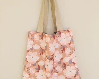 Pink Floral Pattern Tote Bag - Cotton Tote Bag - Flower Print Tote Bag