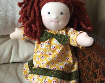 """Waldorf doll, 11"""" Handmade doll, Cloth doll, Girl doll, Ragdoll, 10 inch doll, OOAK doll"""