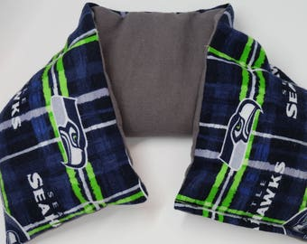 """Handmade 22"""" Neck Wrap --- Flax Seed and Lavender Neck Pillows: Plaid Seahawks"""