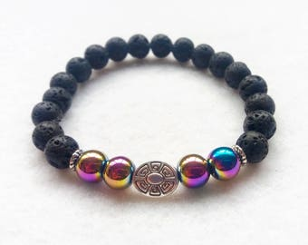 Essential Oil Diffuser Bracelet, Lava Stone and Rainbow Hematite Stretch Bracelet, Gemstone Bracelet
