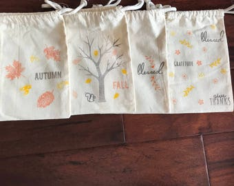 Fall Muslin Favor Bags 8x5 Set of 4