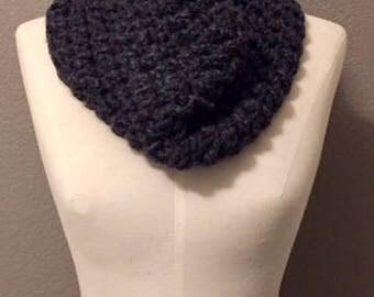 Crochet Dark Grey Cowl Wool Scarf