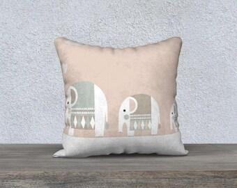 "Pillow cover decorative ""Elephants"" decorative pillow cushion pillow-gift baby-nursery children decor animal"