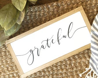 "7.5""X12"" Grateful Wood Framed Sign"