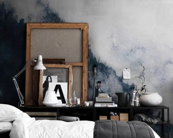 Watercolor Landscape Mountain Fog Removable Wallpaper Peel And Stick Self Adhesive