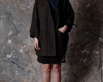 Wool tweed long coat