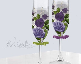 Purple Rose hand printed 8 oz Champagne glass flute set of two for Bride and Groom or bridesmaids - Free Initial or name personalization