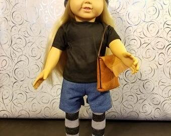 18 Inch Doll Clothes Accessories- T-Shirt, Jean Shorts, Leggings, Beanie and Purse