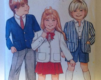 Butterick 6328 Childrens Jacket Skirt Pants and Shirt Size 2 Vintage 1980's