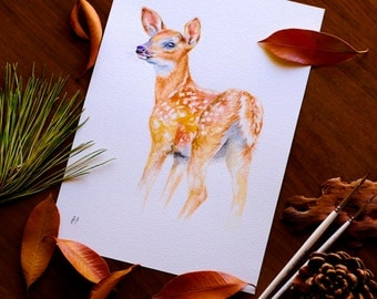 Fawn Watercolor Baby Deer Watercolor Painting Woodland Nursery Decor Forest Animal Lovers Fawn Deer Wall Art Original Watercolor
