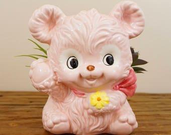 Vintage Pink Ceramic Lefton Bear Planter