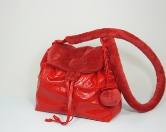 Shoulder Bag, Handbag, Red Shoulder Bag, Gift for Her, Red Handbag, Gift Idea, Glossy Red Shoulder Bag, Glossy Red Handbag, Vinyl Handbag