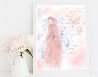 Printable Art, Angel Printable, Hail Mary 8 X 10 INSTANT DOWNLOAD, Hail Mary Prayer, Virgin Mary, Nursery Print, Christian Art,Catholic