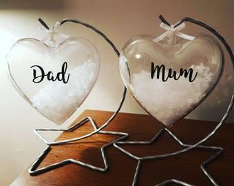 Mum or Dad hanging heart bauble