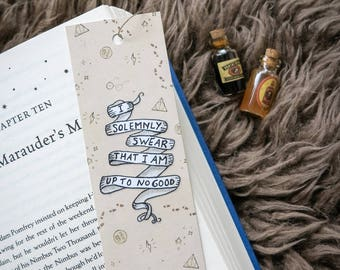 Handmade Harry Potter Marauder's Map Bookmark - I solemnly swear that I am up to no good