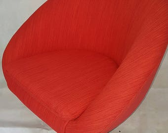 1960s Retro Swivel chair, reupholstered in Red