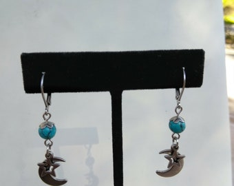 Moon and Star Earrings simulated turquoise