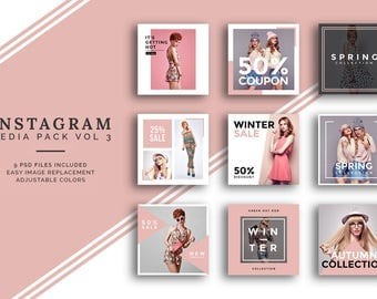 Instagram Social Media Template Pack Vol 3 - Fully Customizable and  Easy To use