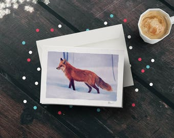 Red Fox A5 Illustrated Christmas Greetings Card - Winter Wildlife of Scotland
