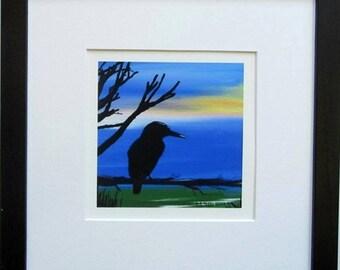 Kingfisher - Framed giclee digital art print.