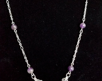Silver Chainmaille Necklace with Amethyst