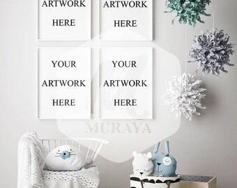 4 panel nursery frames mock-up, kids bedroom frames mockup, Scandinavian interior frames mock-up, white frames mockup