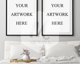 2 Panel Frame Mockup, Bedroom Frame mockup, Styled Stock Photograpy, Scandinavian Style Interior, PSD Mockup, Modern Design