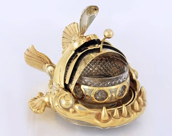 Luxury golden bowl for caviar Miracle fish with crystal elements and rising flap