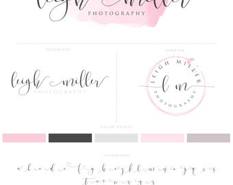Pink Photography Logo, Photography Design Branding Package Modern Blush Pink Watermark Stamp and Script Style Initials Logo  019