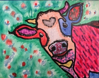 "colorful cow painting 8""x10"""