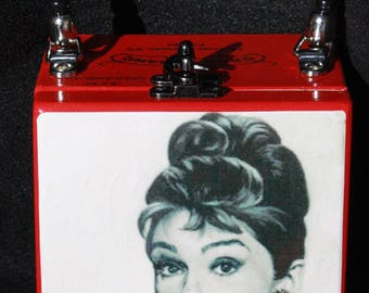 """Audrey Hepburn blinged cigar box purse with tag line """"Elegance is the only form of beauty that never fades"""" - Audry Hepburn"""