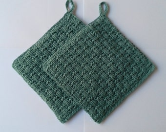 Knitted pot, color grey-green (set of 2 pieces)