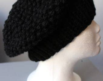 Black Knitted slouchie Hat