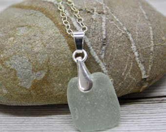 white sea glass  pendant, white sea glass necklace sterling silver, gift for her