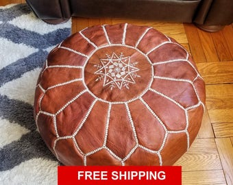 Brown Leather Moroccan Pouf, Ottoman, Handmade Leather Pouf