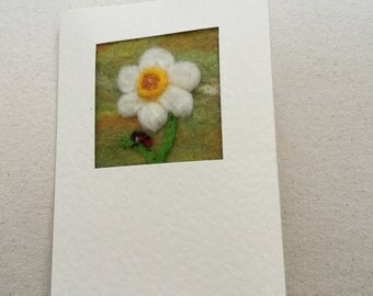 Needle felted greetings card - Spring daffodil flower and ladybird
